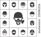 helmet icons set. | Shutterstock .eps vector #255081316