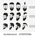 hairstyles with a beard in the... | Shutterstock .eps vector #255093586
