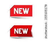 new red paper labels   stickers ... | Shutterstock . vector #255105178