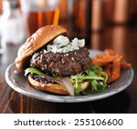 Burger With Blue Cheese Served...