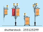 wrought iron street lamps with... | Shutterstock .eps vector #255125299