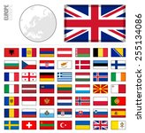 e shop miniature flags. europe | Shutterstock .eps vector #255134086