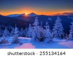 snovy trees on winter mountains | Shutterstock . vector #255134164