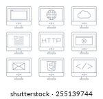internet icon set  simple flat...   Shutterstock .eps vector #255139744