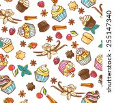 seamless vector pattern with... | Shutterstock .eps vector #255147340