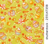 seamless vector pattern with... | Shutterstock .eps vector #255147358