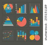 set of colored vector business... | Shutterstock .eps vector #255151189