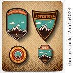 vector. adventure badge set.all ... | Shutterstock .eps vector #255154024
