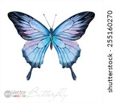 Vector Watercolor Butterfly Th...