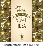 tea background. poster with...   Shutterstock .eps vector #255161770