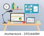 computer desk  workplace... | Shutterstock .eps vector #255166084