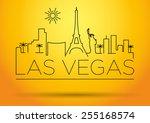 Stock vector las vegas city line silhouette typographic design 255168574