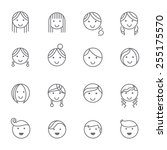 hairstyles emotions line icons. | Shutterstock .eps vector #255175570