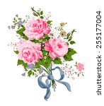 pink roses bouquet with blue... | Shutterstock .eps vector #255177004