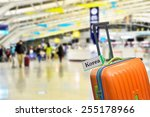 korea. orange suitcase with... | Shutterstock . vector #255178966