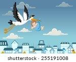 cartoon stork delivering a...   Shutterstock .eps vector #255191008
