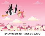 Cartoon Stork Delivering A...