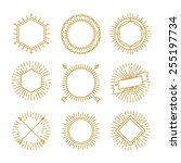 vector set of outline emblems... | Shutterstock .eps vector #255197734