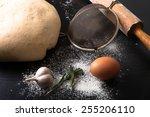flour  rolling pin  egg ... | Shutterstock . vector #255206110