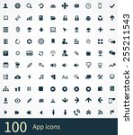 100 app icons on white... | Shutterstock . vector #255211543