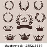 set of laurel wreaths and... | Shutterstock .eps vector #255215554