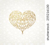 Ornate Vector Heart In Line Ar...