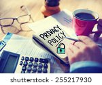 businessman notepad privacy... | Shutterstock . vector #255217930