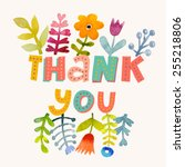 sweetly pretty thank you card... | Shutterstock .eps vector #255218806