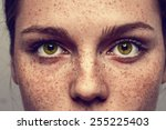 eyes nose woman portrait with... | Shutterstock . vector #255225403