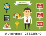 vector realtor with set of real ... | Shutterstock .eps vector #255225640