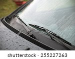 wet windshield wiper | Shutterstock . vector #255227263