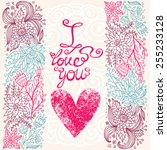 i love you on floral background.   Shutterstock .eps vector #255233128
