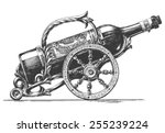 bottle of wine vector logo... | Shutterstock .eps vector #255239224