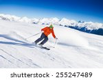 Skier In Mask Slides Fast While ...