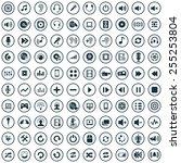 100 dj icons  universal set  | Shutterstock . vector #255253804