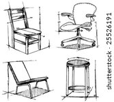 chairs drawings | Shutterstock .eps vector #25526191