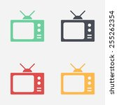 tv icon. flat design style.... | Shutterstock .eps vector #255262354