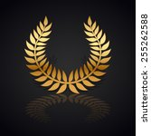 gold laurel wreath with  shadow ... | Shutterstock .eps vector #255262588