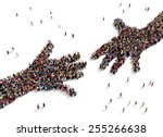 large group of people seen from ... | Shutterstock . vector #255266638