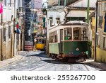 vintage tram in the city center ... | Shutterstock . vector #255267700