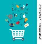 shopping design over white... | Shutterstock .eps vector #255268510