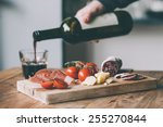 appetizers   tomato  meat and... | Shutterstock . vector #255270844