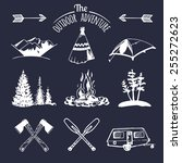 vector set of vintage camping... | Shutterstock .eps vector #255272623