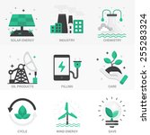 set of vector icons into flat...   Shutterstock .eps vector #255283324