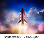 space shuttle taking off on a... | Shutterstock . vector #255283354