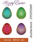 set of colored easter eggs... | Shutterstock .eps vector #255292069
