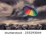rainbow umbrella fly out the... | Shutterstock . vector #255293044