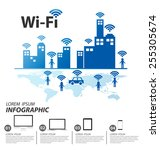 wifi   vector internet and... | Shutterstock .eps vector #255305674