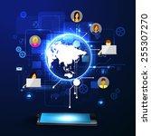 the concept of social network... | Shutterstock .eps vector #255307270