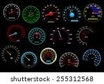 various glowing speedometers... | Shutterstock .eps vector #255312568